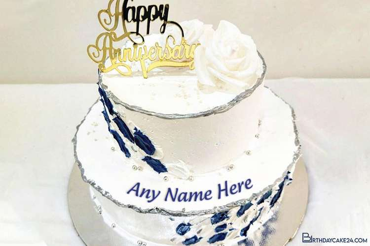 Meaningful Two-Tier Anniversary Cake With Name Editing
