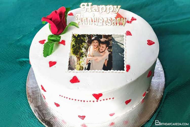 Happy Rose Anniversary Cake With Photo Editing