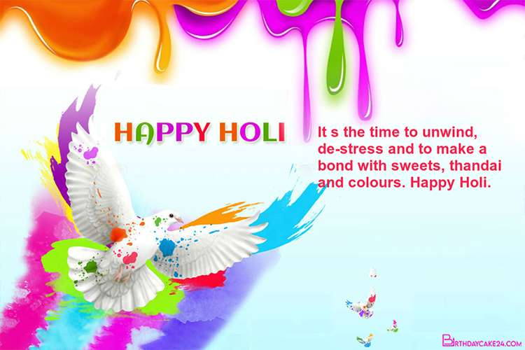 Download Best Holi Wishes Colourful Pigeon Card