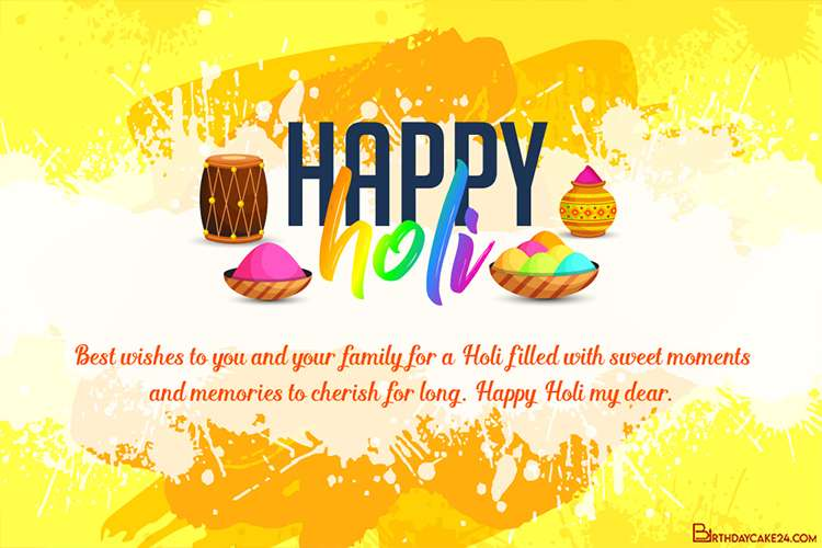 Holi Greeting Card With Yellow Background