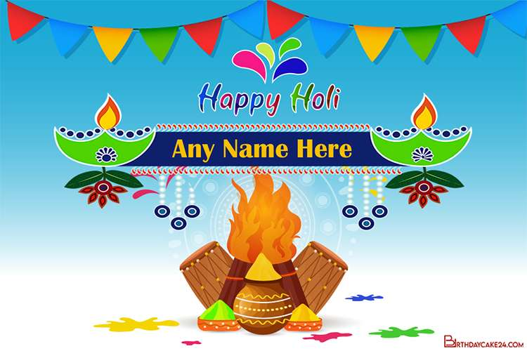 Write Your Name On Holi Cards Images Download