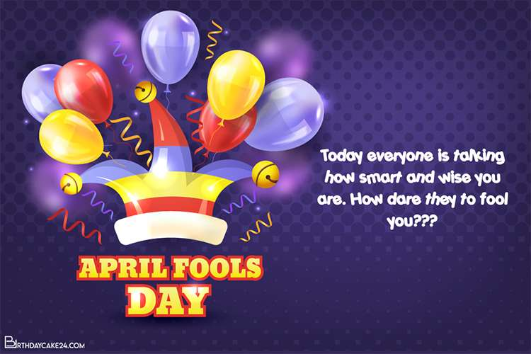 Realistic April Fools Day Card With Colorful Balloons