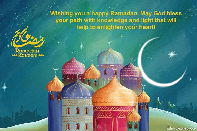 Ramadan Mubarak Card With Colorful Mosque