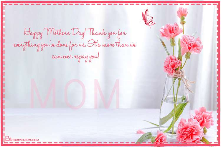 Stunning Flower Happy Mother's Day Card With Name Wishes