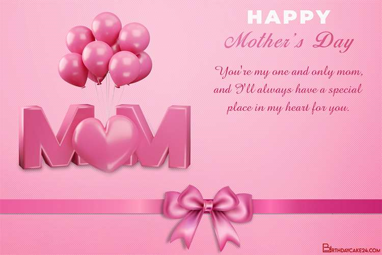 Happy Mother's Day 3D Card With Balloons