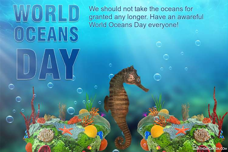 Create World Oceans Day Card Images Download